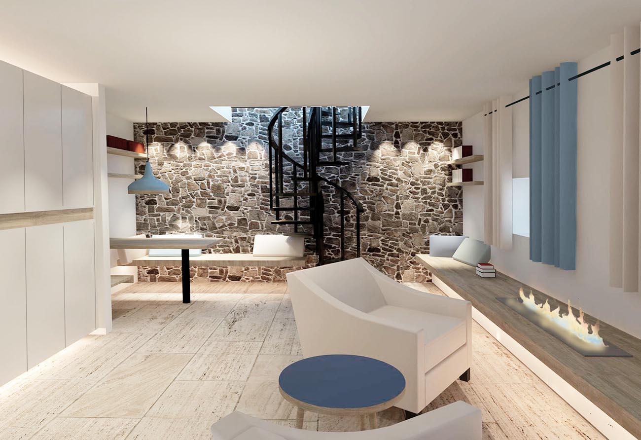 Wohnzimmer-Turmhaus