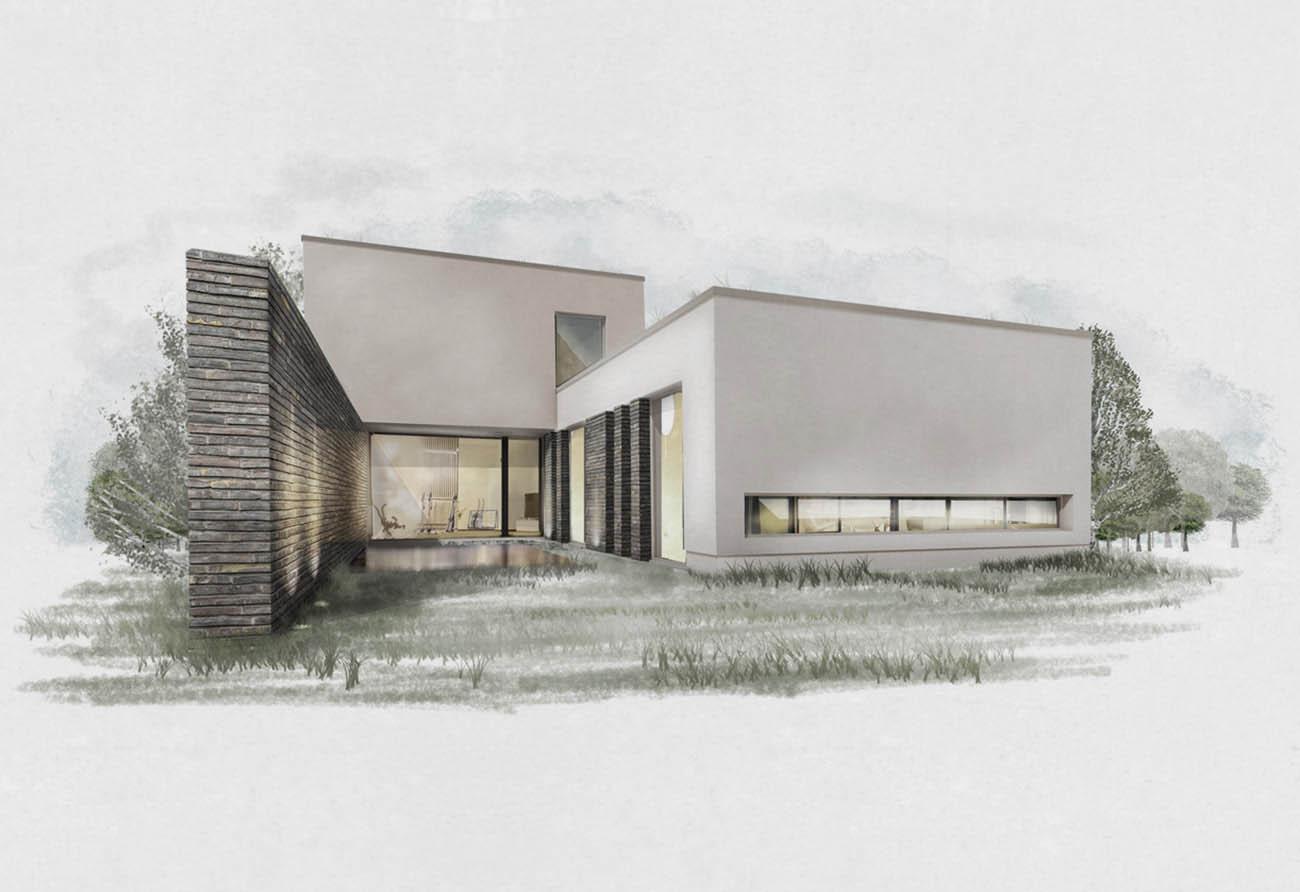 Handzeichnung Skizze Entwurf zeichnen Einfamilienhaus Architektur Architekturbüro Leipzig