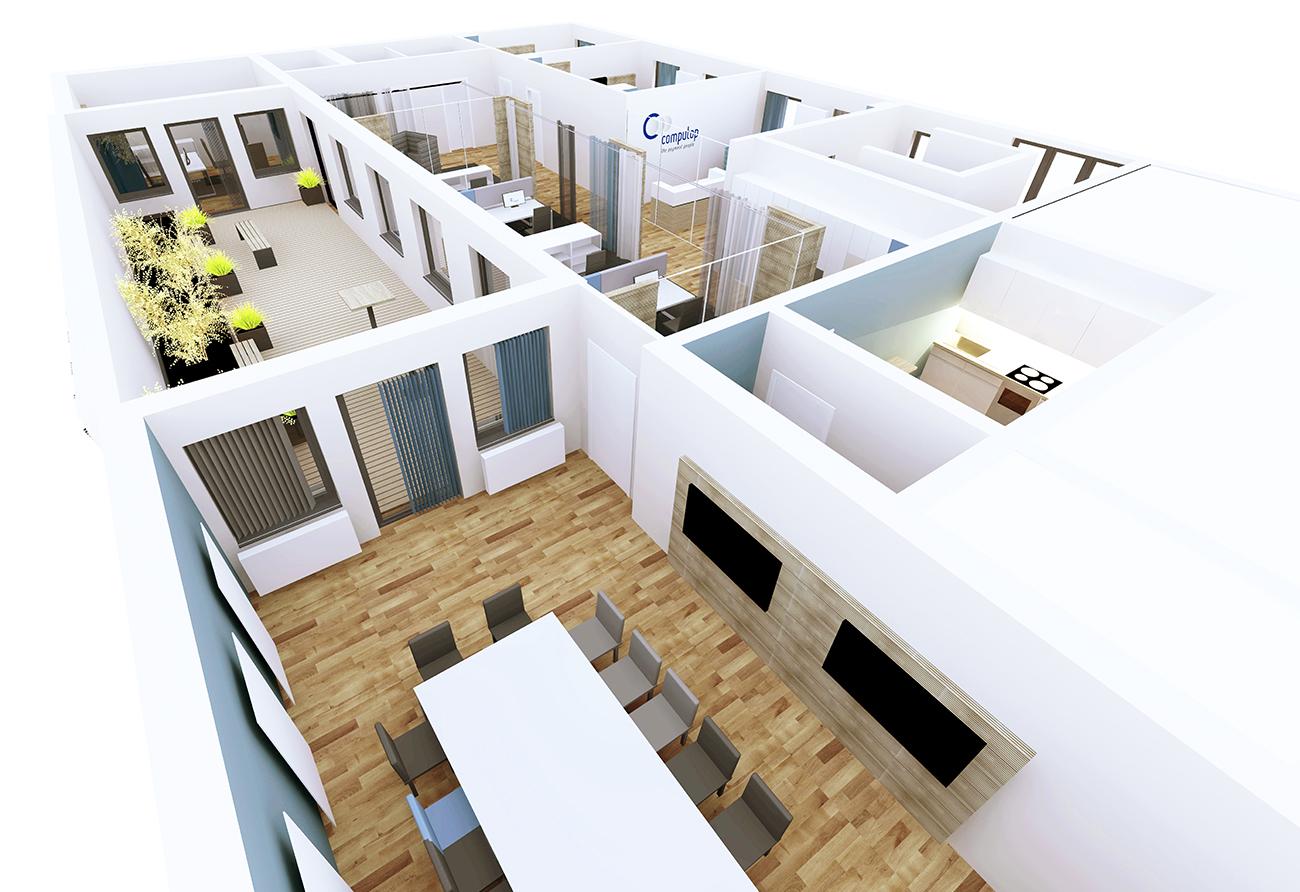 Büro Entwurf 3D Grundriss Innenarchitekt Leipzig