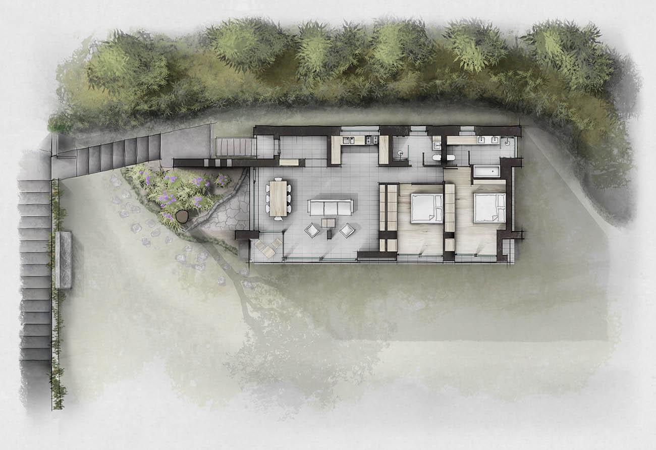 Illustrierter Kolorierter Grundriss Illustration Lageplan Haus Villa Innenarchitektur Leipzig
