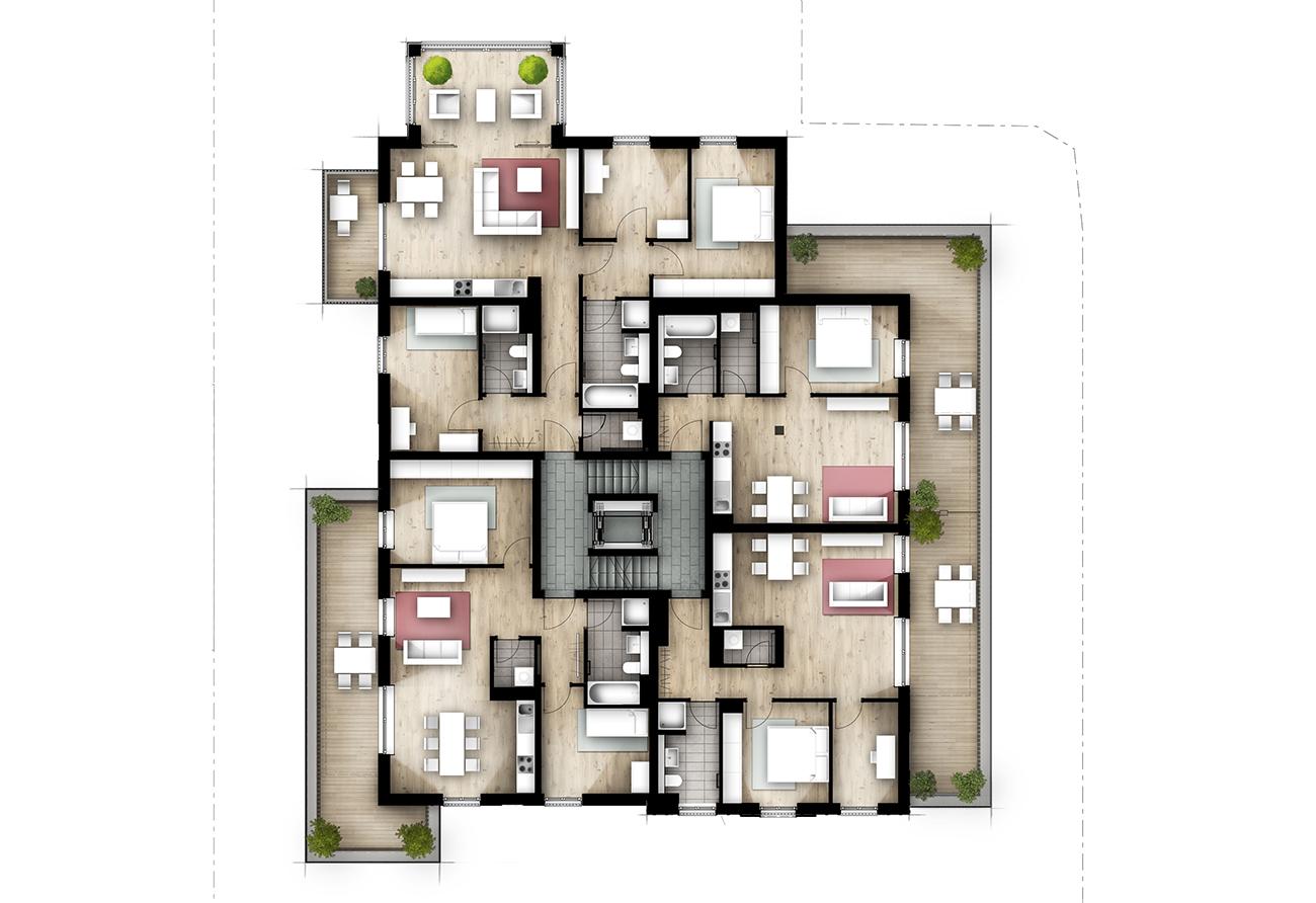 Illustrierter Kolorierter Grundriss Illustration Lageplan Innenarchitektur Leipzig