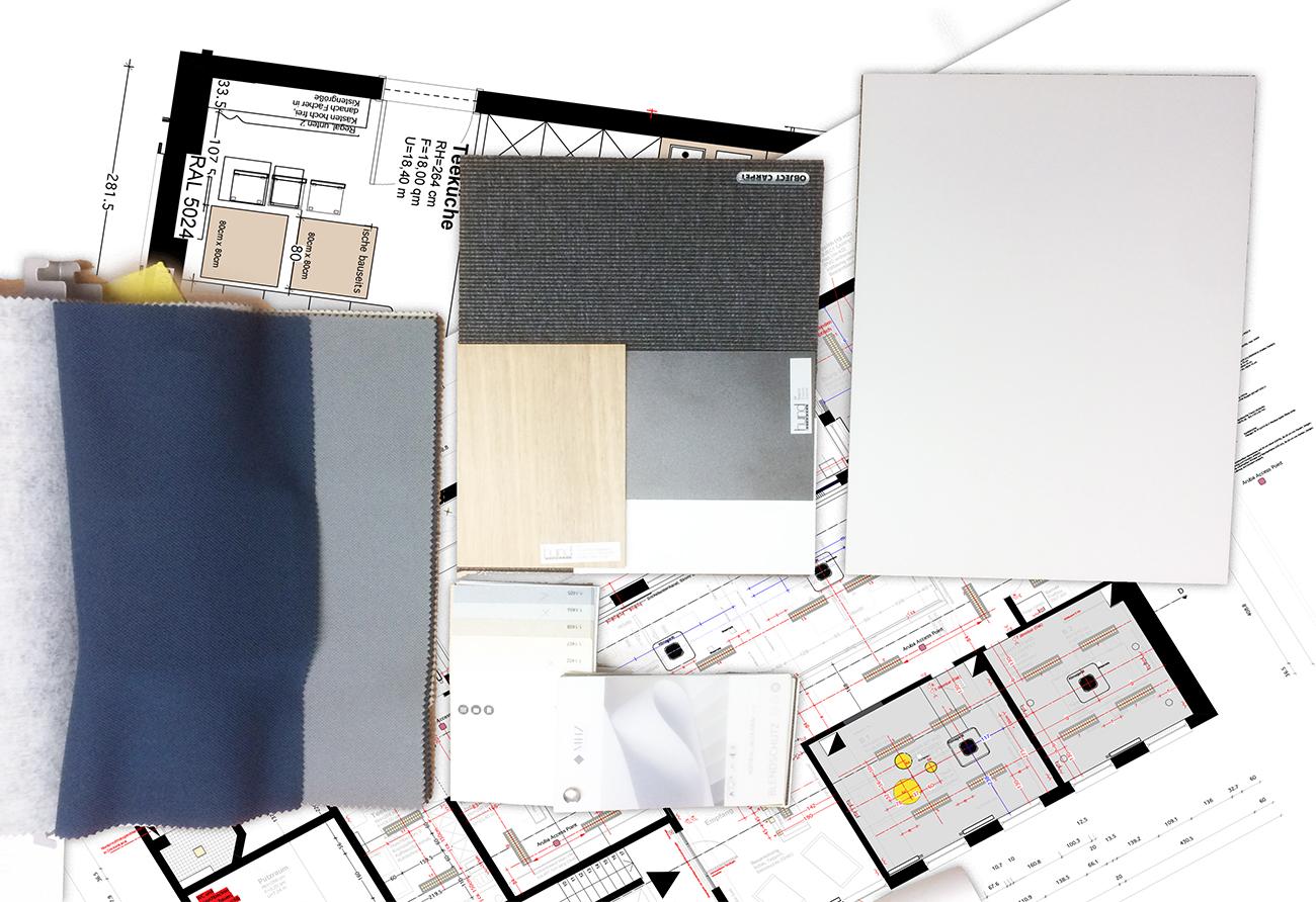 Materialcollage Büro Umbau Entwurf Zeichnung Innenarchitektur Leipzig
