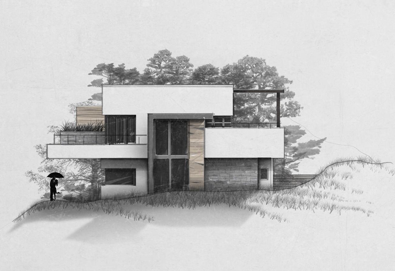Innenarchitektur Leipzig Zeichnung Skizze Entwurf Visualisierung Haus Luxusvilla