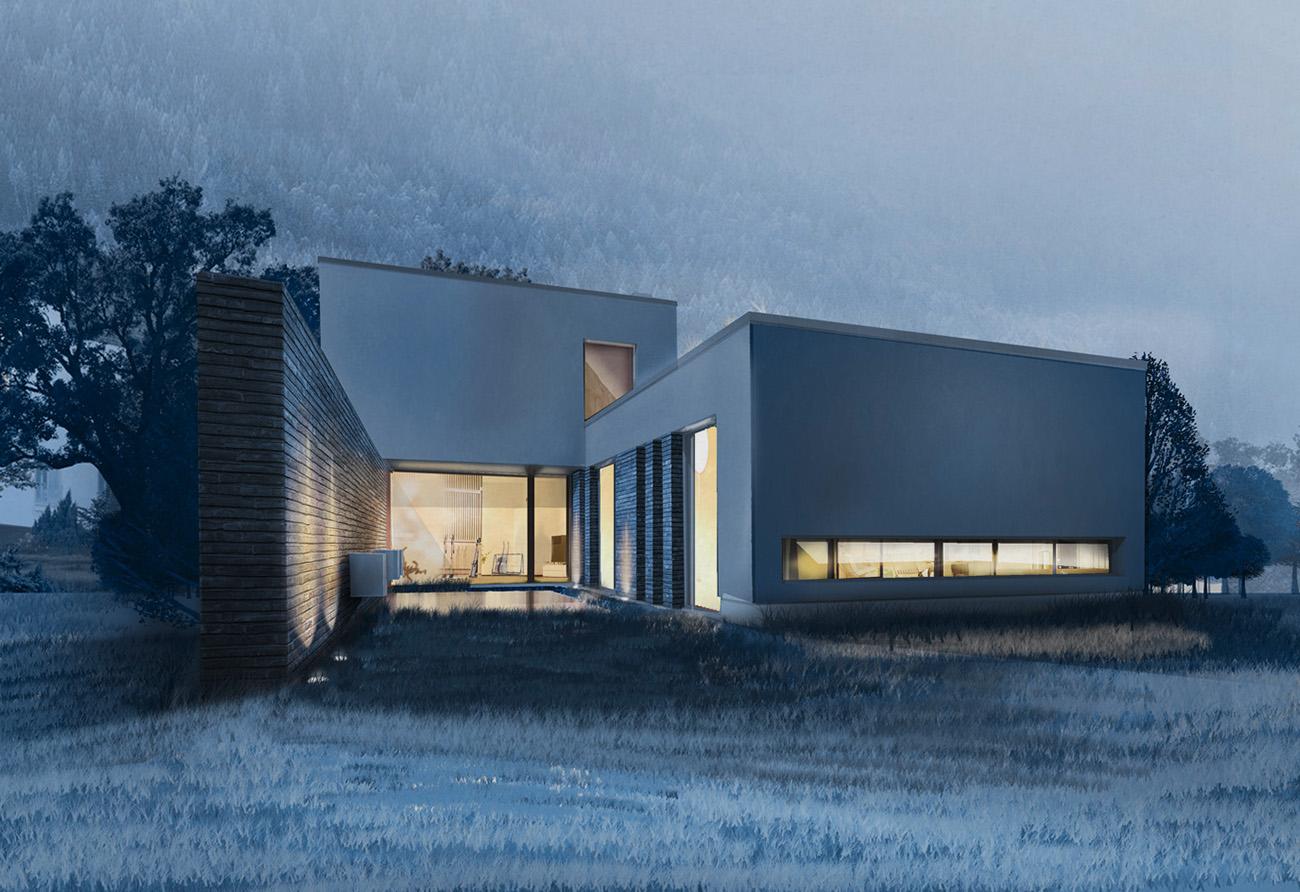 Lichtkonzept Skizze Entwurf zeichnen Einfamilienhaus Architektur Architekturbüro Leipzig