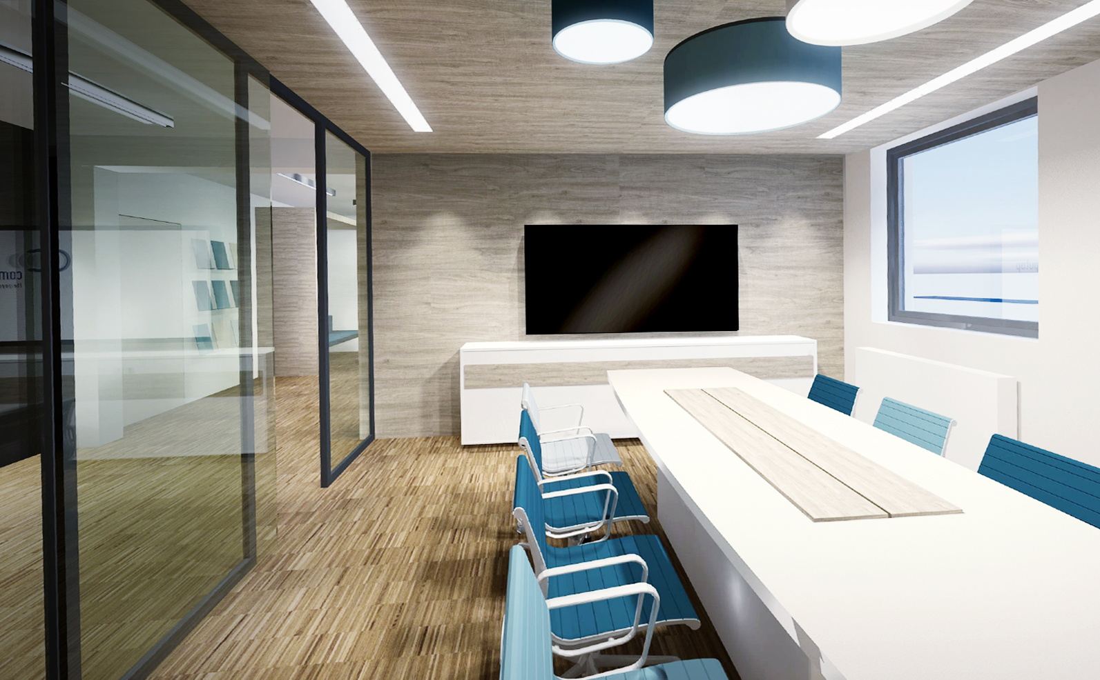Büroplanung Konferenzraum Licht Planung Innenarchitektur Leipzig
