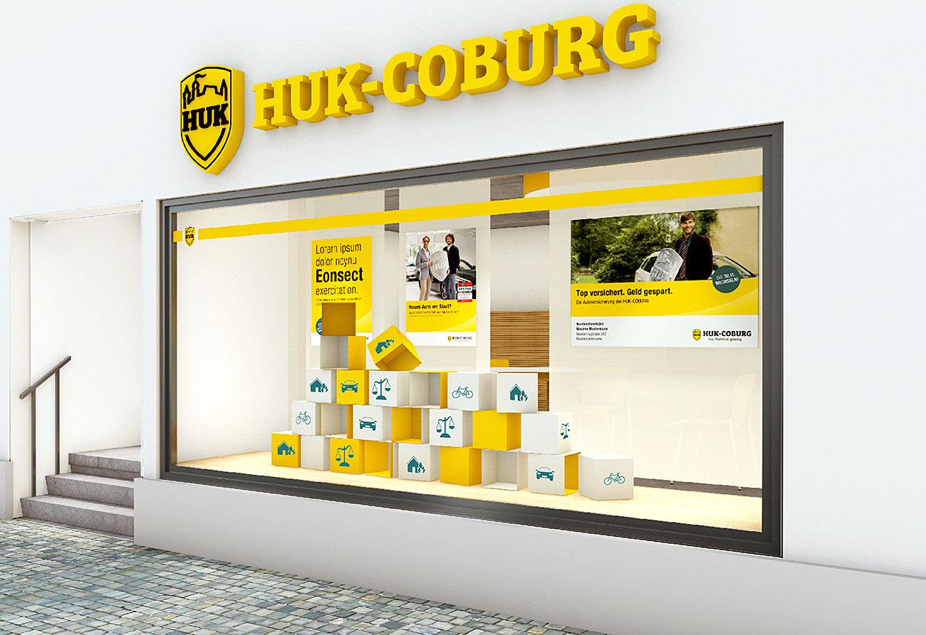 Entwurf Ladengestaltung Schaufenster HUK Coburg Innenarchitekt Leipzig