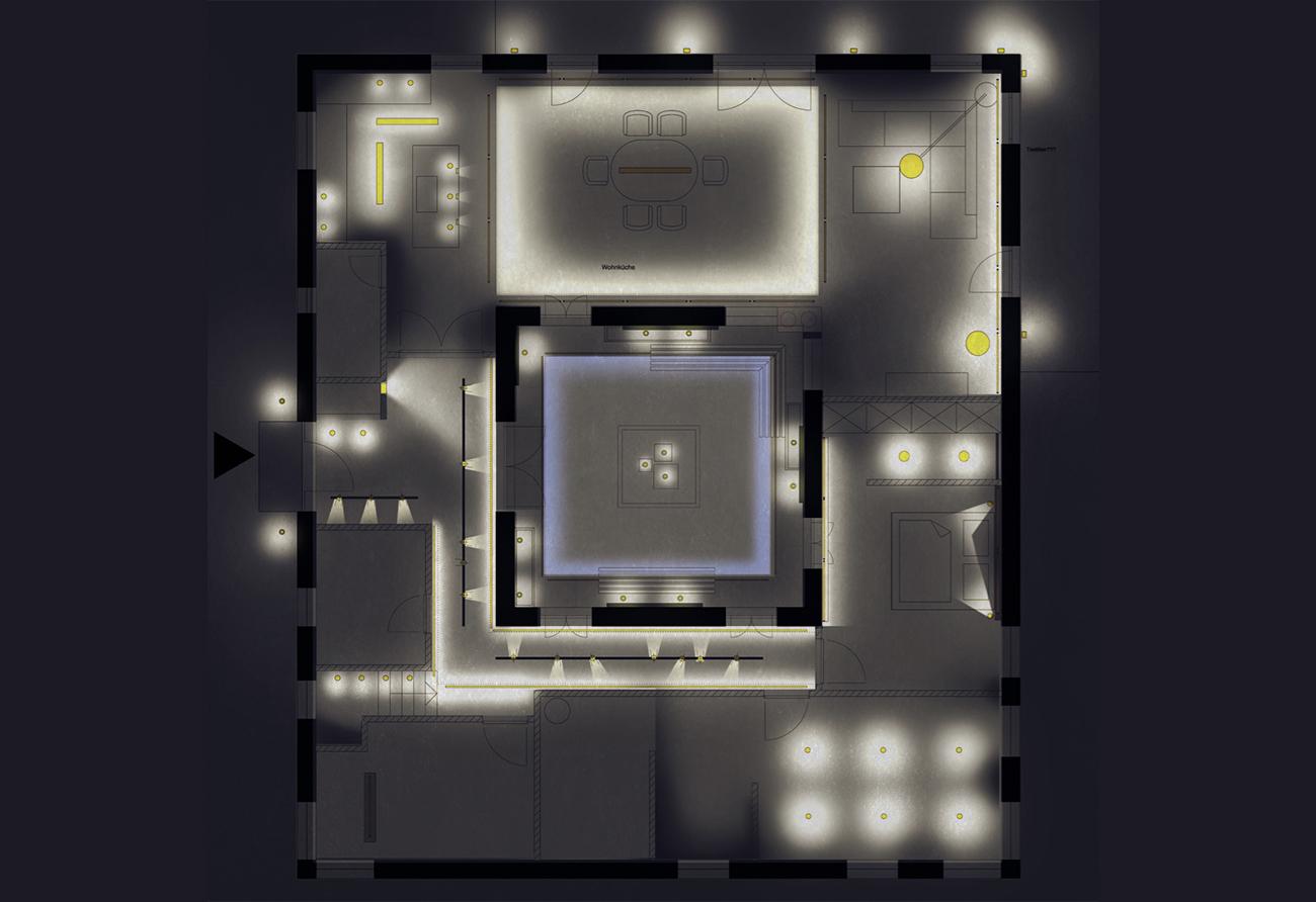 Lichtplanung Beleuchtung Grundriss Innenarchitekt Leipzig