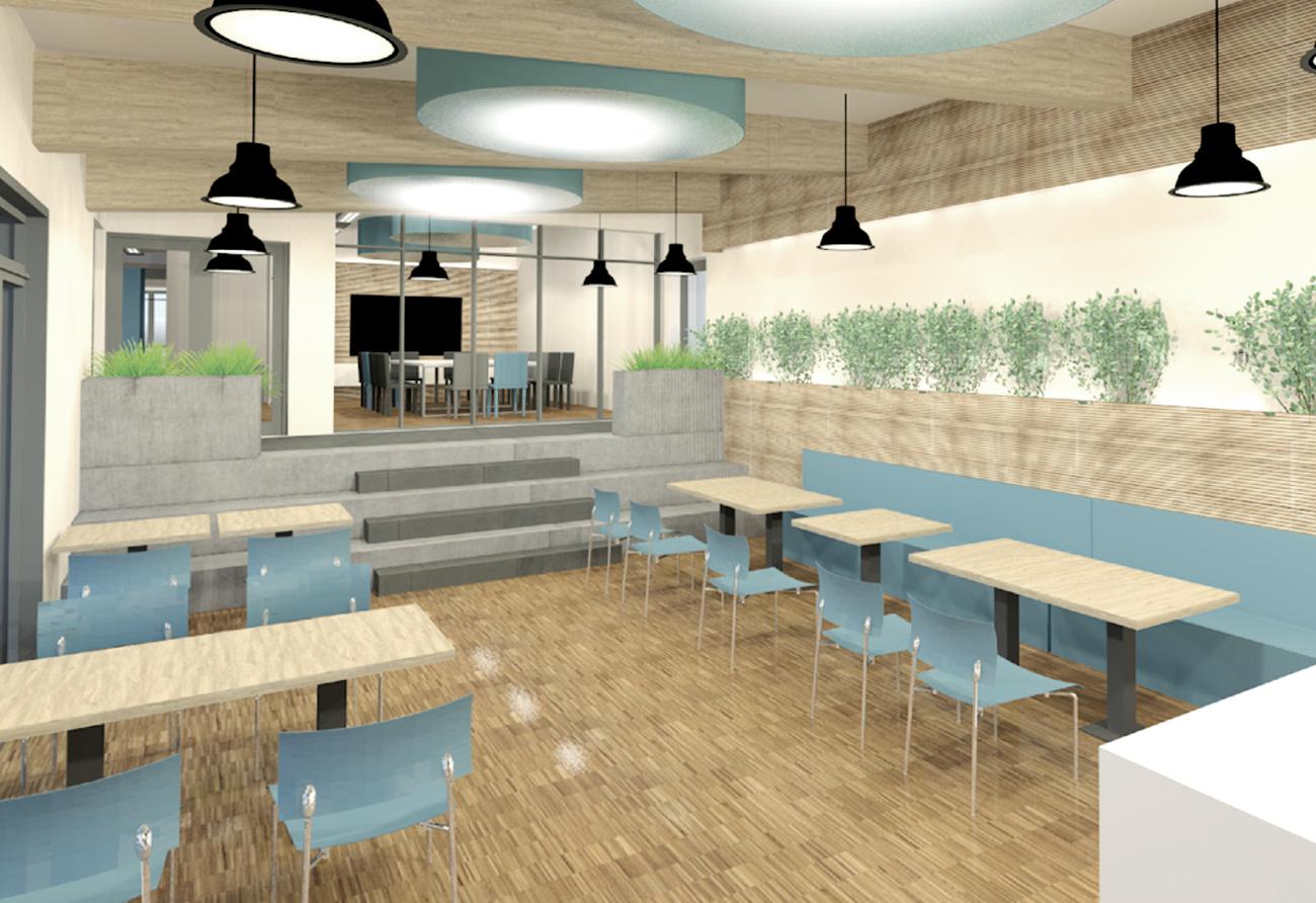 Mensa Cafeteria Entwurf 3D Innenarchitekt-Leipzig
