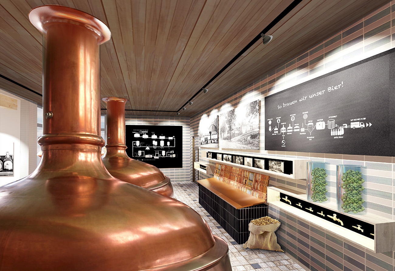 Brauerei Schankraum Ausstellung Lichtdesign Innenarchitekt Leipzig