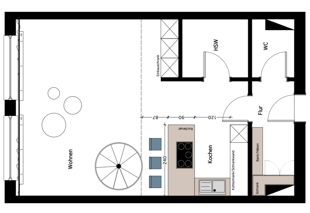 Umbau Renovierung Loft Grundriss zeichnen Innenarchitekt Leipzig