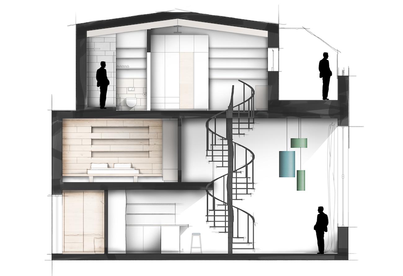 Umbau Renovierung Loft Penthouse Grundriss zeichnen Innenarchitekt Leipzig