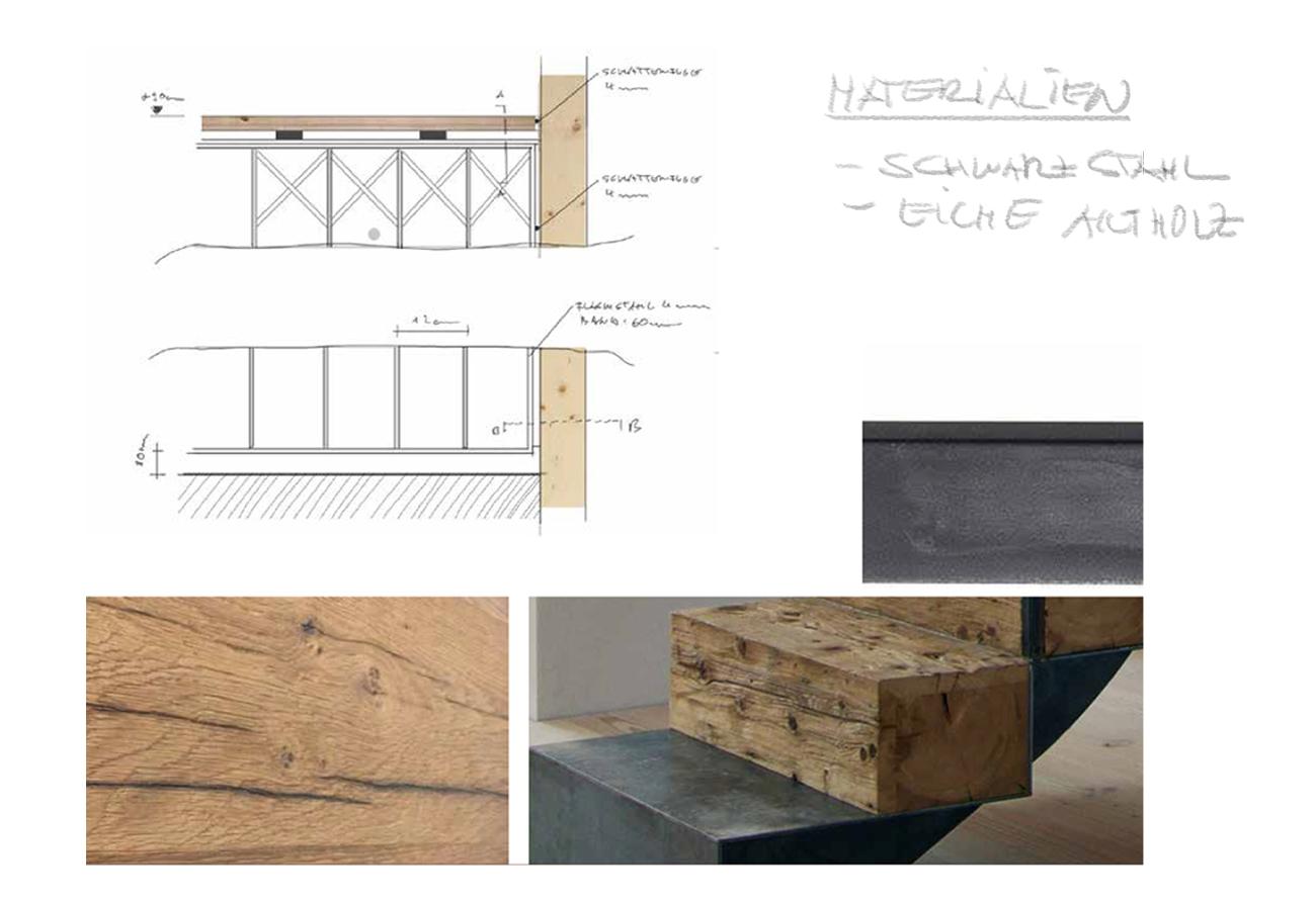 Wirtshaus Sitzbänke Eiche Innenausbau Materialcollage Innenarchitektur Leipzig