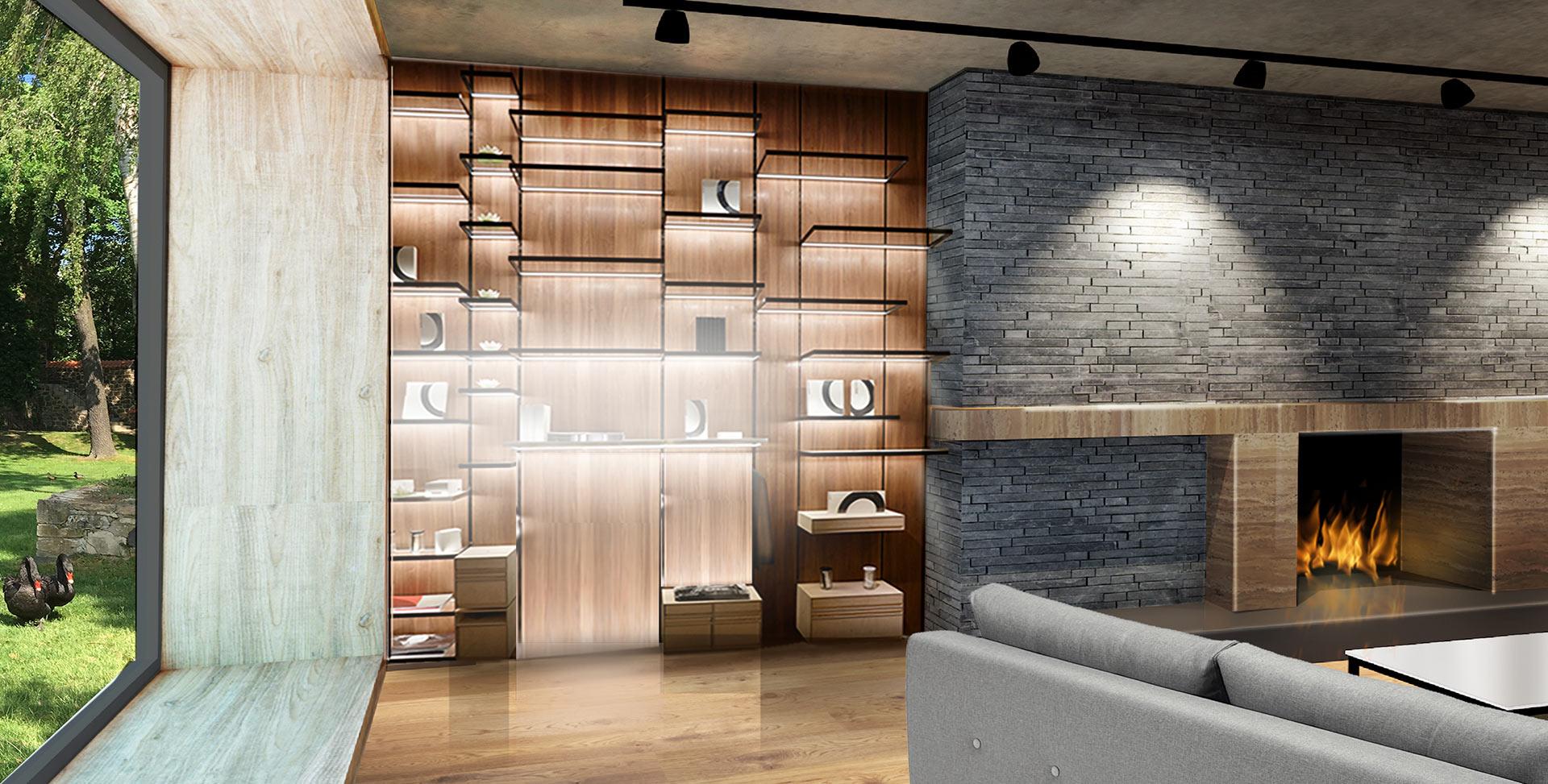 Wohnzimmer Lichtplanung Regal Beleuchtung LED